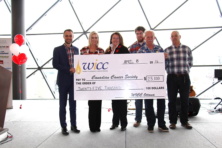 (picture from left to right: Craig O'Brien, Partner at Nelligan O'Brien Payne LLP (Gold Sponsor), Marie T. Clemens, lawyer at Nelligan O'Brien Payne LLP and Chair of WICC (Ottawa) Sugar Bush Breakfast, Marilyn Horrick, GCNA and Co-Chair of WICC (Ontario), Andrew Wight, a member of the CCS Research Information Outreach Team (RIOT), Byron James, manager, Canadian Cancer Society Ottawa, Mark Charron, Partner at Gowling WLG (Gold Sponsor).